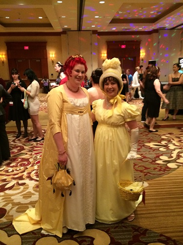 Reproduction Regency Yellow Dress at Costume College.