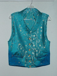 Reproduction Blue polyester satin waistcoat with gold pattern and buttons, back buckle, two front welts.