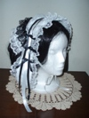 reproduction 1840s Victorian day cap with ears quarter view