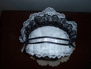 reproduction 1840s Victorian day cap with ears top