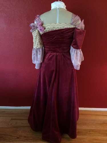 1900s Reproduction Raspberry Velvet Ball Gown Dress Back.