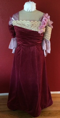 1900s Reproduction Raspberry Velvet Ball Gown Dress Front.