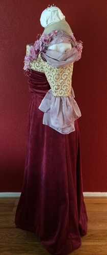 1900s Reproduction Raspberry Velvet Ball Gown Dress Left.
