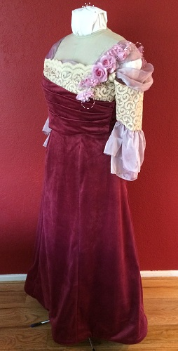 1900s Reproduction Raspberry Velvet Ball Gown Dress Left Quarter View.