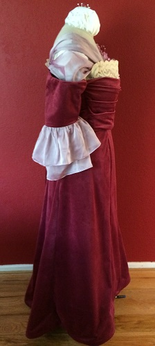 1900s Reproduction Raspberry Velvet Ball Gown Dress Right.