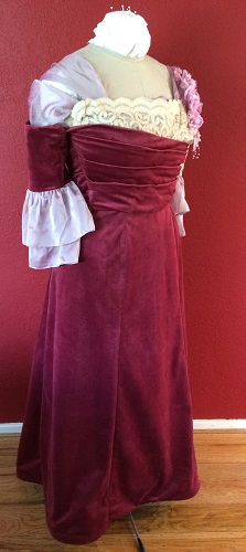 1900s Reproduction Raspberry Velvet Ball Gown Dress Right Quarter View.