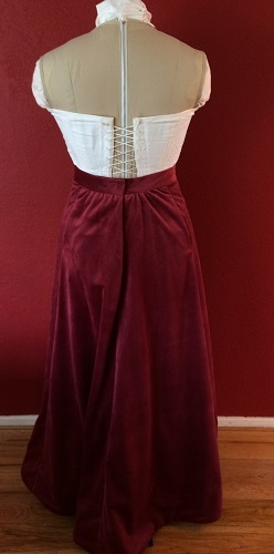 1900s Reproduction Raspberry Velvet Ball Gown Skirt Back.