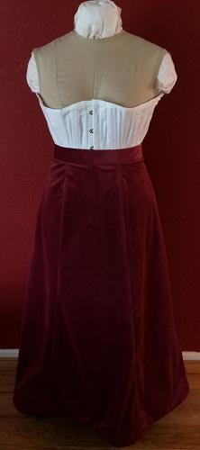 1900s Reproduction Raspberry Velvet Ball Gown Skirt Front.