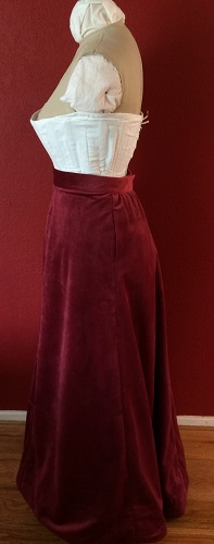 1900s Reproduction Raspberry Velvet Ball Gown Skirt Left.