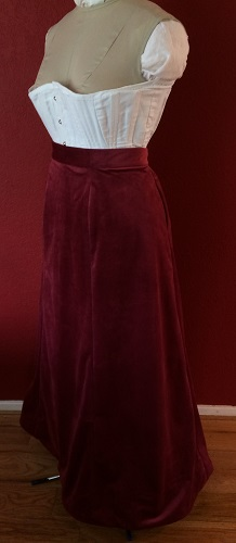 1900s Reproduction Raspberry Velvet Ball Gown Skirt Left Quarter View.