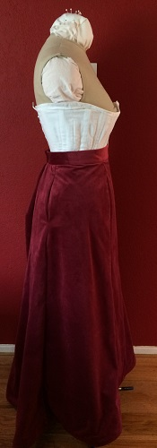 1900s Reproduction Raspberry Velvet Ball Gown Skirt Right.