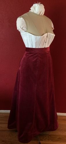 1900s Reproduction Raspberry Velvet Ball Gown Skirt Right Quarter View.