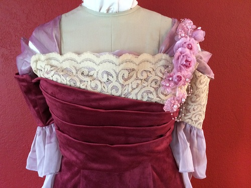 1900s Reproduction Raspberry Velvet Ball Gown Bodice Front.
