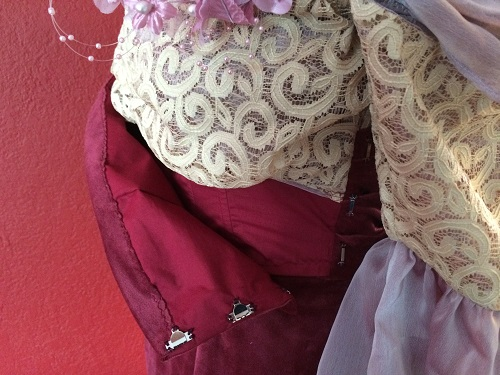 1900s Reproduction Raspberry Velvet Ball Gown Bodice Hook and Eyes on Left.