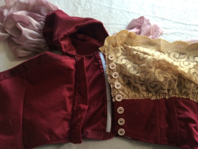 1900s Reproduction Raspberry Velvet Ball Gown Bodice Button Placket.