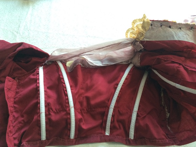 1900s Reproduction Raspberry Velvet Ball Gown Bodice Inside Middle.