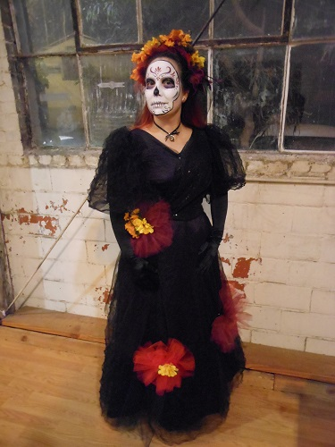 Reproduction Edwardian day of the dead black and purple evening dress