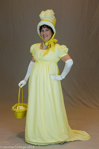 Reproduction yellow Regency day dress with bonnet. Photo by Andrew Schmidt.